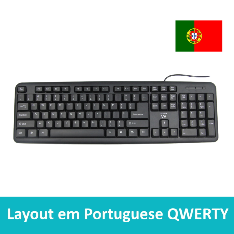 EW3112 | USB and PS2 Keyboard QWERTY (PT Layout) | Ewent | distributori informatica